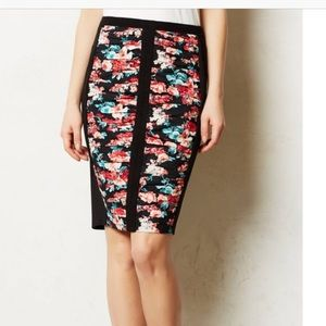 Anthropologie Bailey 44 Ruched Floral Print Skirt
